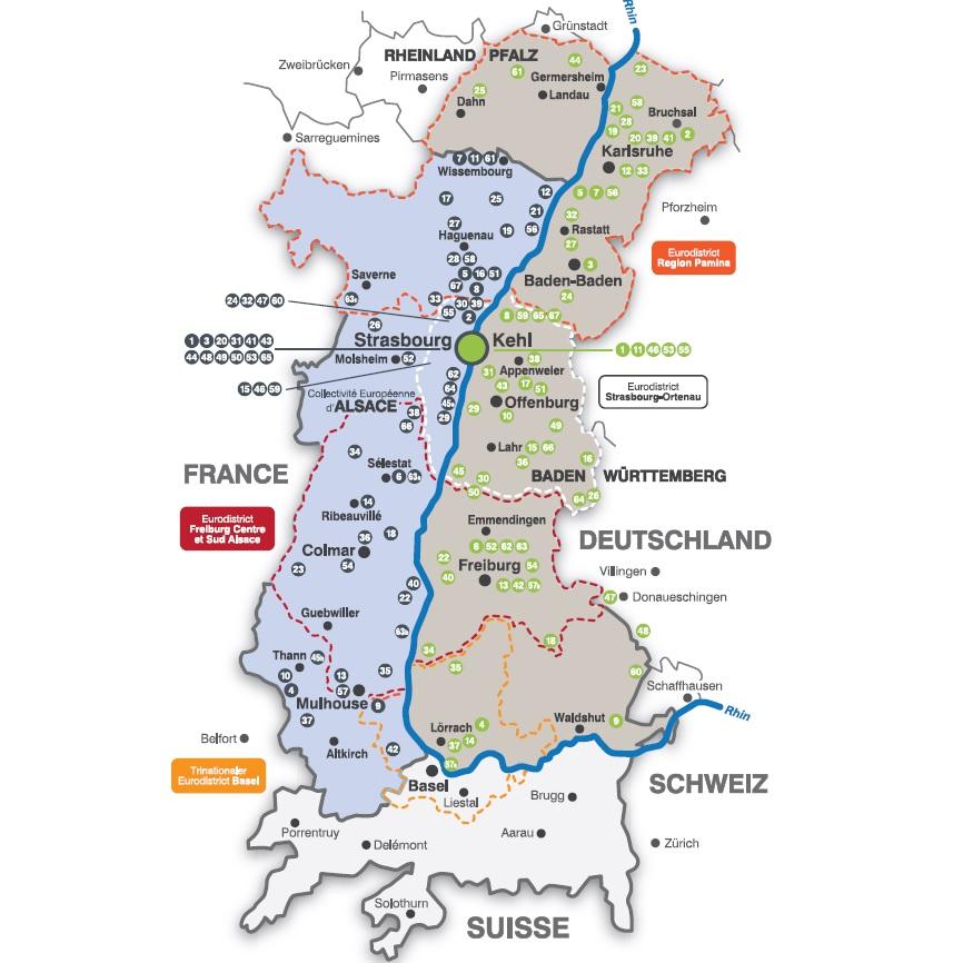 Carte des sociétés allemandes frontalières et leurs filiales en Alsace