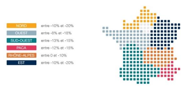 Gehaltsunterschiede zwischen den Regionen in Frankreich