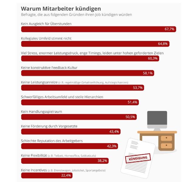 Graphisme Statista 10 raisons de démission en Allemagne